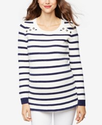 A Pea In The Pod Maternity Striped Sweater White Navy