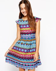 Iska Cap Sleeve Dress In Geo Tribal Print Blue