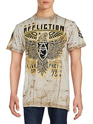 Affliction Printed Cotton Tee Taupe
