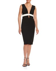 Nicole Miller Contrast Sheath Dress Black White