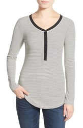 Junior Women's Lush Clothing Stripe Long Sleeve Henley Tee