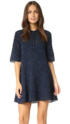 M Missoni Solid Fancy Knit Dress Navy