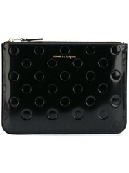 Comme Des Garcons Wallet Polka Dot Embossed Clutch Black