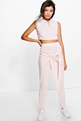 Boohoo Tie Waist Legging And Crop Knitted Lounge Set Nude