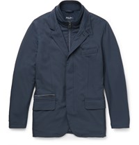 Loro Piana New Roadster Suede Trimmed Shell Jacket Blue