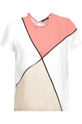 Raoul Color Block Silk Top White