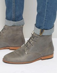 Bobbies L'explorateur Faux Shearling Lace Up Boots Grey