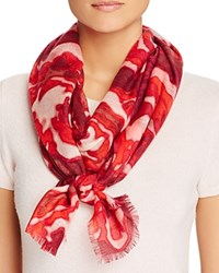 Aqua Brushstroke Rose Scarf Pop Red