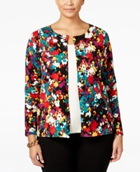 August Silk Plus Size Printed Cardigan Red Secret