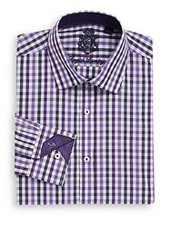 English Laundry Regular Fit Checked Dress Shirt Purple