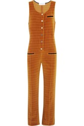 Keji Striped Cotton Blend Velvet Jumpsuit Orange