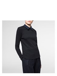 Paul Smith Women's Black Wool Blend Top With Embroidered Collar