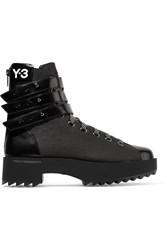 Y 3 Hike Star Ii Embossed Leather Boots Black