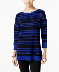 Cable And Gauge Striped Sweater Only At Macy's Black Stripe Blue Jewel