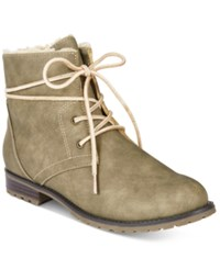 Sporto Jillian Lace Up Booties Women's Shoes Taupe
