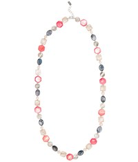 Viyella Coral Shell Pearl And Facet Necklace