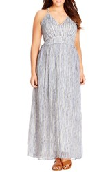 Plus Size Women's City Chic Metallic Plait Trim Stripe Maxi Dress