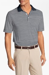 Men's Big And Tall Cutter And Buck 'Trevor' Stripe Drytec Polo Navy White