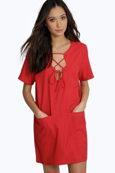 Boohoo Lace Up Eyelet Crepe Dress Poppy