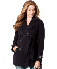 Motherhood Maternity French Terry Belted Peacoat Black