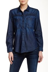 7 For All Mankind Braided Denim Shirt Blue