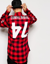Criminal Damage Check Shirt With Back Print Red