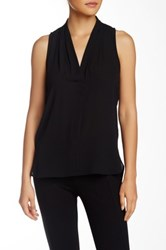 Vince Camuto Pleated V Neck Hi Lo Tank Petite Black
