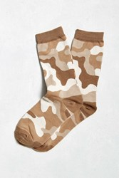 Urban Outfitters Sand Camo Sock Tan