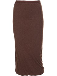 Rick Owens Lilies Pencil Skirt Brown