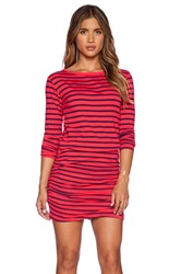 Sundry Striped Boat Neck Long Sleeve Dress Red