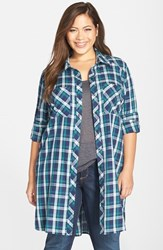 Plus Size Women's Caslon Two Pocket Tunic Shirt Navy Peacoat Blue Plaid