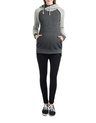 Miscellaneous French Terry Asymmetrical Zip Maternity Hoodie Black