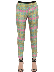 Monocrom Printed Viscose Cady Pants Multi