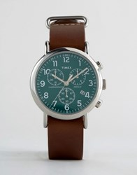 Timex Weekender Chornograph Oversized Leather Watch In Brown Brown