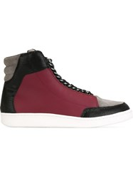 Just Cavalli Chain Trim Panelled Hi Top Sneakers