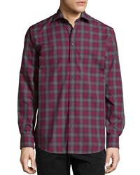 Neiman Marcus Long Sleeve Plaid Sport Shirt Red Black
