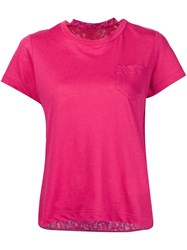 Sacai Lace Insert T Shirt Pink And Purple
