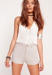 Missguided High Waisted Denim Shorts Nude Grey