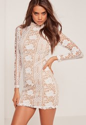 Missguided Lace Long Sleeve High Neck Bodycon Dress White White