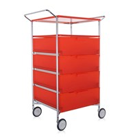 Kartell Mobil 4 Drawer Shelf And Wheels Orange
