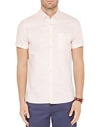 Ted Baker Mysong Stripe Short Sleeve Regular Fit Shirt Orange