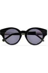 Preen Piccadilly Round Frame Acetate Sunglasses Black