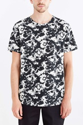 Bdg Abstract Floral Standard Fit Wide Neck Tee Black And White
