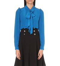 Claudie Pierlot Catchy Silk Shirt Turquoise