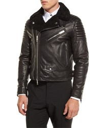 Burberry Leather Shearling Fur Lined Moto Jacket Black