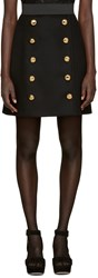 Dolce And Gabbana Black Wool Gold Buttons Skirt