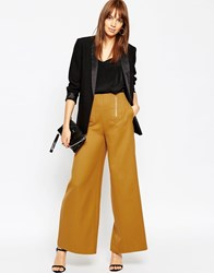 Asos Flare With Zipper Detail Mustard