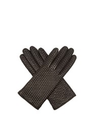 Agnelle Chloetresse Woven Leather Gloves Black