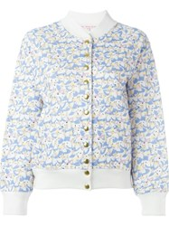 Olympia Le Tan Alice In Wonderland Print Bomber Jacket Blue