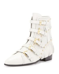 Giuseppe Zanotti Studded Fringe Leather Bootie White